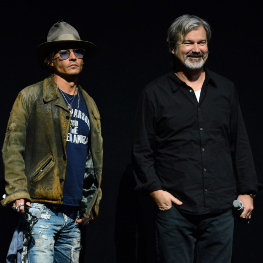 "LAS VEGAS, NV - APRIL 17:  Actor Johnny Depp (L) and director Gore Verbinski appear at a Walt Disney Studios Motion Pictures presentation to promote their upcoming film ""The Lone Ranger"" at The Colosseum at Caesars Palace during CinemaCon, the official convention of the National Association of Theatre Owners, on April 17, 2013 in Las Vegas, Nevada.  (Photo by Ethan Miller/Getty Images)"