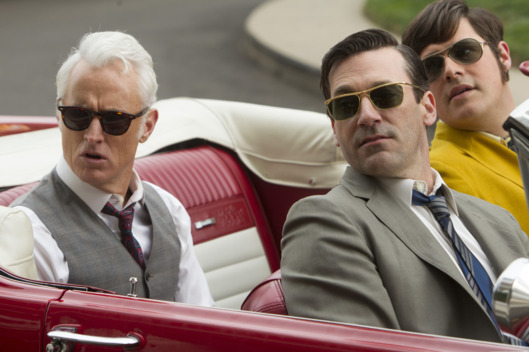 Roger Sterling (John Slattery), Don Draper (Jon Hamm) and Harry Crane (Rich Sommer) - Mad Men _ Season 6, Episode 10 _ 'A Tale of Two Cities' - Photo Credit: Jordin Althaus/AMC