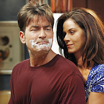 Charlie (Charlie Sheen) complains to Chelsea (Jennifer Taylor) about Alan  on TWO AND A HALF MEN