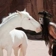 """THE LONE RANGER""L to R: Silver and Johnny Depp as TontoPh: Peter Mountain©Disney Enterprises, Inc. and Jerry Bruckheimer Inc.  All Rights Reserved."