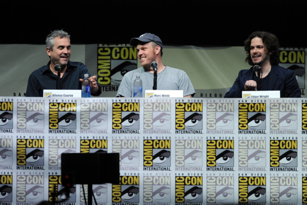 "SAN DIEGO, CA - JULY 18:  Filmmakers Alfonso Cuaron, Marc Webb, and Edgar Wright speak onstage at Entertainment Weekly's ""The Visionaries"" panel during Comic-Con International 2013 at San Diego Convention Center on July 18, 2013 in San Diego, California.  (Photo by Kevin Winter/Getty Images)"
