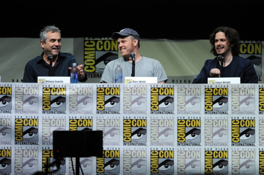 "Filmmakers Alfonso Cuaron, Marc Webb, and Edgar Wright speak onstage at Entertainment Weekly's ""The Visionaries"" panel during Comic-Con International 2013 at San Diego Convention Center on July 18, 2013 in San Diego, California."
