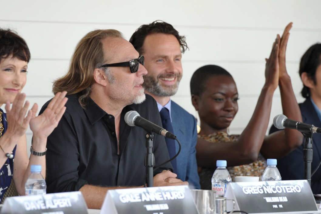 From left, executive producers Gale Anne Hurd, David Alpert, and cast members Andrew Lincoln and Danai Gurira attend the Fox International press breakfast for 'The Walking Dead', on Friday, July 19, 2013 in San Diego, Calif.