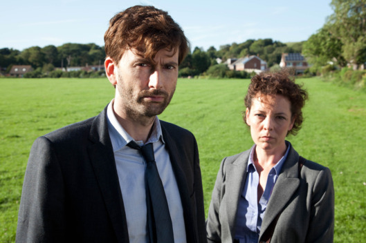NEW SERIESBROADCHURCH FOR ITVEPISODE 2Broadchurch is a new eight part drama series by Kudos Film and Television for ITV. The star-studded cast includes David Tennant, Olivia Colman, Andrew Buchan, Jodie Whittaker, Vicky McClure, Pauline Quirke, Will Mellor, Arthur Darvill and Carolyn Pickles.This brand new eight part series is written and created by Chris Chibnall (Law and Order: UK, Doctor Who) and will explore what happens to a small community in Dorset when it suddenly becomes the focus of a police investigation, following the tragic and mysterious death of an eleven year old boy under the glare of the media spotlight.Bloodied and dirty, Danny Latimer (Oskar McNamara) has been found dead on an idyllic beach surrounded by rocks and a jutting cliff-face from where he may have fallen. Whilst his death remains unresolved, the picturesque seaside town of Broadchurch is at the heart of a major police investigation and a national media frenzy.Pictured : DAVID TENNANT as Alec Hardy and  OLIVIA COLMAN as Ellie Miller.Copyright: ITVThis photograph is (C) ITV Plc and can only be reproduced for editorial purposes directly in connection with the programme or event mentioned above, or ITV plc. Once made available by ITV plc Picture Desk, this photograph can be reproduced once only up until the transmission [TX] date and no reproduction fee will be charged. Any subsequent usage may incur a fee. This photograph must not be manipulated [excluding basic cropping] in a manner which alters the visual appearance of the person photographed deemed detrimental or inappropriate by ITV plc Picture Desk.