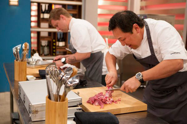 "TOP CHEF MASTERS -- ""Sex, Greed and Murder"" Episode 503 -- Pictured: (l-r) Bryan Voltaggio, Sang Yoon -- (Photo by: Isabella Vosmikova/Bravo)"
