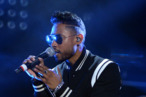 Singer Miguel performs onstage during Bud Light Music First 50/50/1 featuring Miguel at Hollywood Palladium on August 1, 2013 in Hollywood, California.