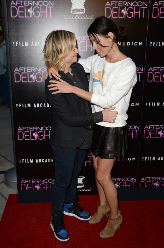 """HOLLYWOOD, CA - AUGUST 19:  (L-R) Actresses Amy Poehler and Aubrey Plaza attend the premiere of the Film Arcade and Cinedigm's """"Afternoon Delight""""  at ArcLight Hollywood on August 19, 2013 in Hollywood, California.  (Photo by Jason Merritt/Getty Images)"""