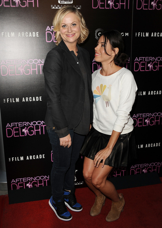 """HOLLYWOOD, CA - AUGUST 19:  Actresses Amy Poehler and Aubrey Plaza attend the premiere of """"Afternoon Delight"""" at ArcLight Hollywood on August 19, 2013 in Hollywood, California.  (Photo by Jason LaVeris/FilmMagic)"""