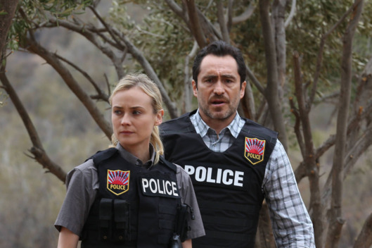 "THE BRIDGE - ""Destino"" - Episode 7 (Airs, Wednesday, August 21, 10:00 pm e/p) Pictured; (L-R) Diane Kruger as Sonya Cross, Demian Bichir as Marco Ruiz. CR: Byron Cohen/FX Network"