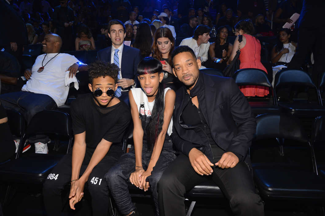 NEW YORK, NY - AUGUST 25:  (L-R) Jayden Smith, Willow Smith and Will Smith attend the 2013 MTV Video Music Awards at the Barclays Center on August 25, 2013 in the Brooklyn borough of New York City.  (Photo by Larry Busacca/Getty Images for MTV)