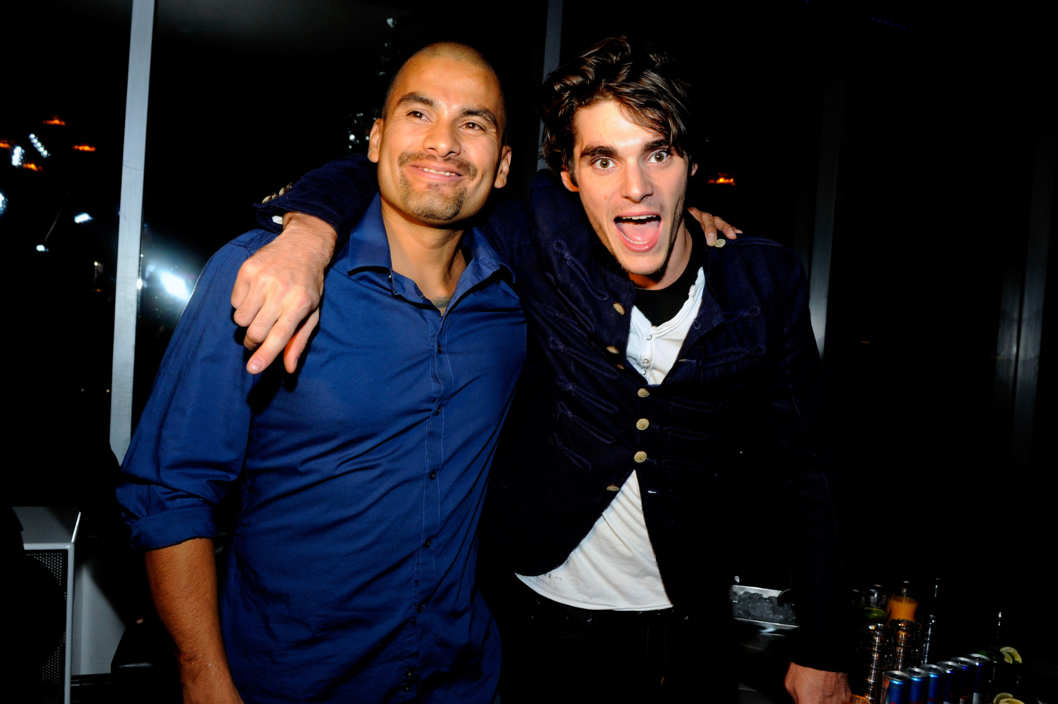 LAS VEGAS, NV - AUGUST 23:  Actors Daniel Moncada (L) and RJ Mitte appear at Mitte's 21st birthday celebration at Ghostbar at the Palms Casino Resort on August 23, 2013 in Las Vegas, Nevada.  (Photo by David Becker/WireImage)