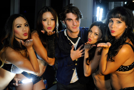 LAS VEGAS, NV - AUGUST 23:  Actor RJ Mitte (C) celebrates his 21st birthday at Ghostbar inside the Palms Casino Resort on August 23, 2013 in Las Vegas, Nevada.  (Photo by David Becker/WireImage)