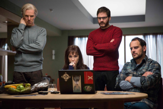 "Left to right: Benedict Cumberbatch (Julian Assange), Carice van Houten (Birgitta J?nsd?ttir), Daniel Br?hl (Daniel Domscheit-Berg) and Moritz Bleibtreu (Marcus) star in DreamWorks Pictures' ""The Fifth Estate."" A dramatic thriller based on true events, ""The Fifth Estate"" reveals the quest to expose the deceptions and corruptions of power that turned an Internet upstart into the 21st century's most fiercely debated organization."