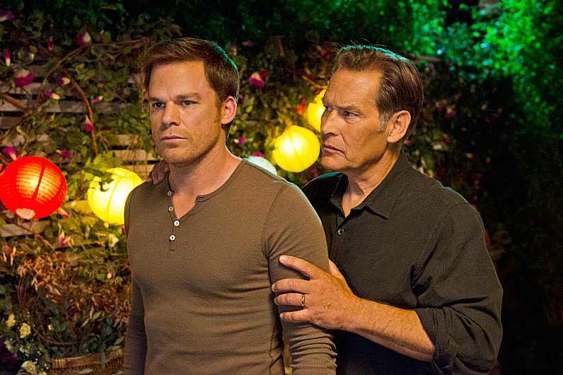 James Remar as Harry Morgan and Michael C. Hall as Dexter Morgan in Dexter (Season 8, episode 10).