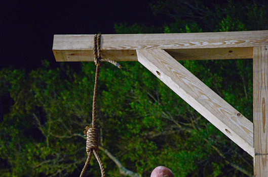 """Curtains"" --  Jim (Dean Norris, pictured) takes justice into his own hands as he prepares the gallows for an unlucky resident on UNDER THE DOME.  The season one finale airs Monday, Sept 16 (10:00-11:00 PM, ET/PT) on the CBS Television Network.  Photo: Brownie Harris/?'??2013 CBS Broadcasting Inc.. All Rights Reserved."