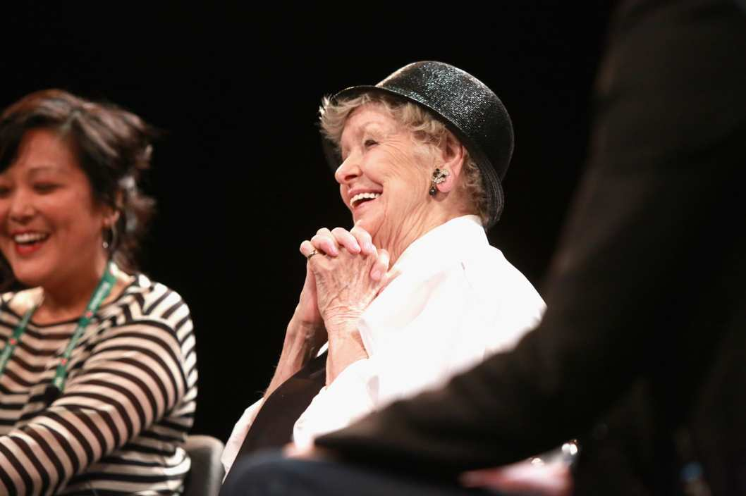 "NEW YORK, NY - APRIL 22:  Director Chiemi Karasawa (L) and actress Elaine Stritch speak onstage at the Tribeca Talks After the Movie: ""Elaine Stritch: Shoot Me"" during the 2013 Tribeca Film Festival on April 22, 2013 in New York City.  (Photo by Robin Marchant/Getty Images for Tribeca Film Festival)"
