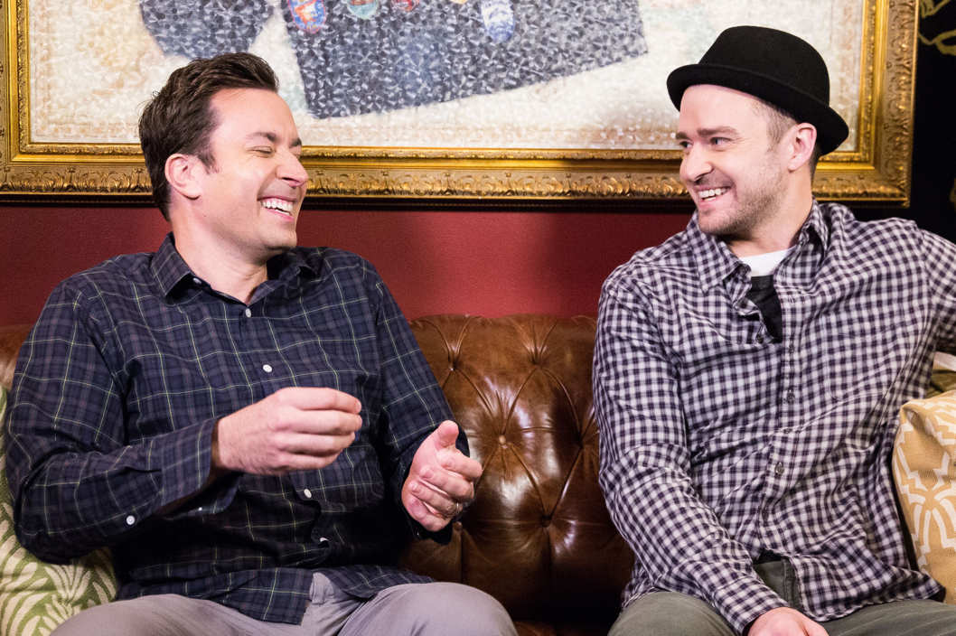 LATE NIGHT WITH JIMMY FALLON -- Episode  897 -- Pictured: (l-r) Jimmy Fallon, Justin Timberlake -- (Photo by: Lloyd Bishop/NBC)