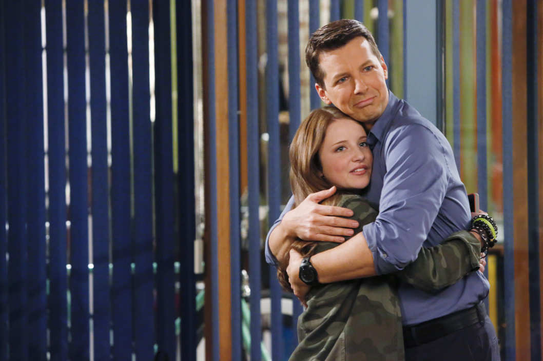 SEAN SAVES THE WORLD -- Pilot -- Pictured: (l-r) Samantha Isler as Ellie, Sean Hayes as Sean -- (Photo by: Vivian Zink/NBC)