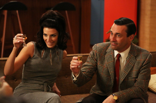 "Megan Draper (Jessica Pare) and Don Draper (Jon Hamm) - Mad Men_Season 6, Episode 2_""The Doorway"" - Photo Credit: Michael Yarish/AMC"