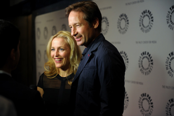 "NEW YORK, NY - OCTOBER 12:  (L-R) Gillian Anderson and David Duchovny attend The Truth Is Here: David Duchovny And Gillian Anderson On ""The X-Files"" at The Paley Center for Media on October 12, 2013 in New York City.  (Photo by Rommel Demano/WireImage)"