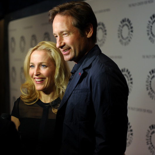 "(L-R) Gillian Anderson and David Duchovny attend The Truth Is Here: David Duchovny And Gillian Anderson On ""The X-Files"" at The Paley Center for Media on October 12, 2013 in New York City."