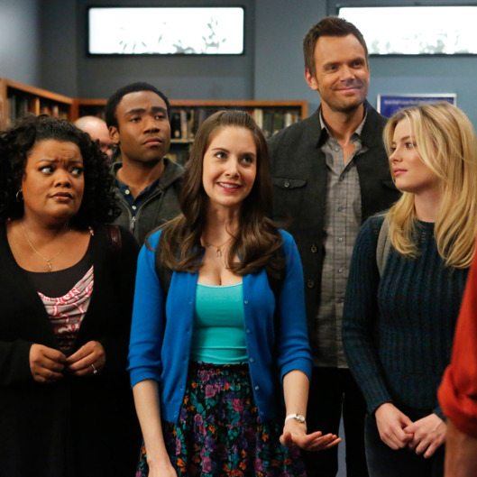 "COMMUNITY -- ""Basic Human Anatomy"" Episode 410 -- Pictured: (l-r) Danny Pudi as Abed, Yvette Nicole Brown as Shirley, Donald Glover as Troy, Alison Brie as Annie, Joel McHale as Jeff Winger, Gillian Jacobs as Britta."