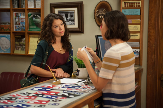 "PARKS AND RECREATION -- ""Gin It Up"" Tatiana Maslany as Nadia, Aubrey Plaza as April Ludgate"