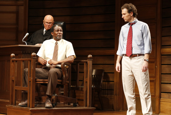 Fred Dalton Thompson, John Douglas Thompson and Sebastian Arcelus in a scene from the Broadway adaptation of A Time to Kill