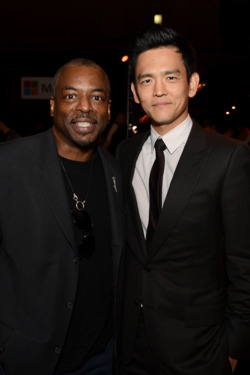"HOLLYWOOD, CA - MAY 14:  Actors LeVar Burton (L) and John Cho at the Premiere of Paramount Pictures' ""Star Trek Into Darkness"" on May 14, 2013 in Hollywood, California.  (Photo by Kevin Winter/Getty Images for Paramount Pictures)"