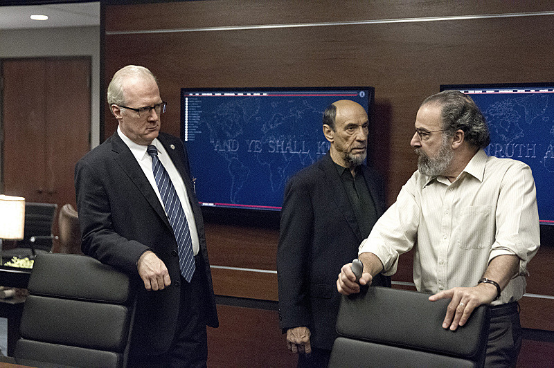 Tracy Letts as Senator Lockhart, F. Murray Abraham as Dar Adal and Mandy Patinkin as Saul Berenson in Homeland