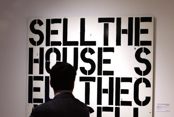 "A Christopher Wool artwork is displayed at Christie's ""Impressionist, Contemporary and Modern"" art preview at their King Street Branch"