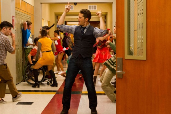 "GLEE: Will (Matthew Morrison) twerks down the hallway in ""The End of Twerking"" episode of GLEE airing Th"