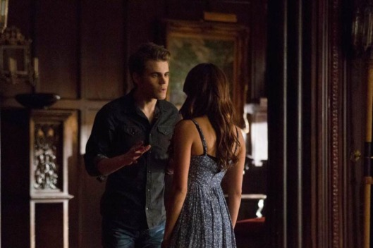 "The Vampire Diaries -- ""Death and the Maiden"". Pictured (L-R): Paul Wesley as Stefan and Nina Dobrev as Elena -- Photo: Blake Tyers/The CW."