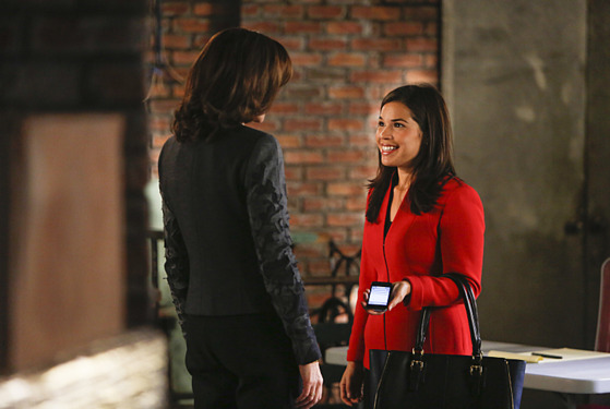"""The Next Month""--Marilyn is concerned about the ethical implications when Eli reconnects with Natalie Flores (guest star America Ferrera, right, with Julianna Margulies, left), on THE GOOD WIFE, Sunday, Nov 17 ("
