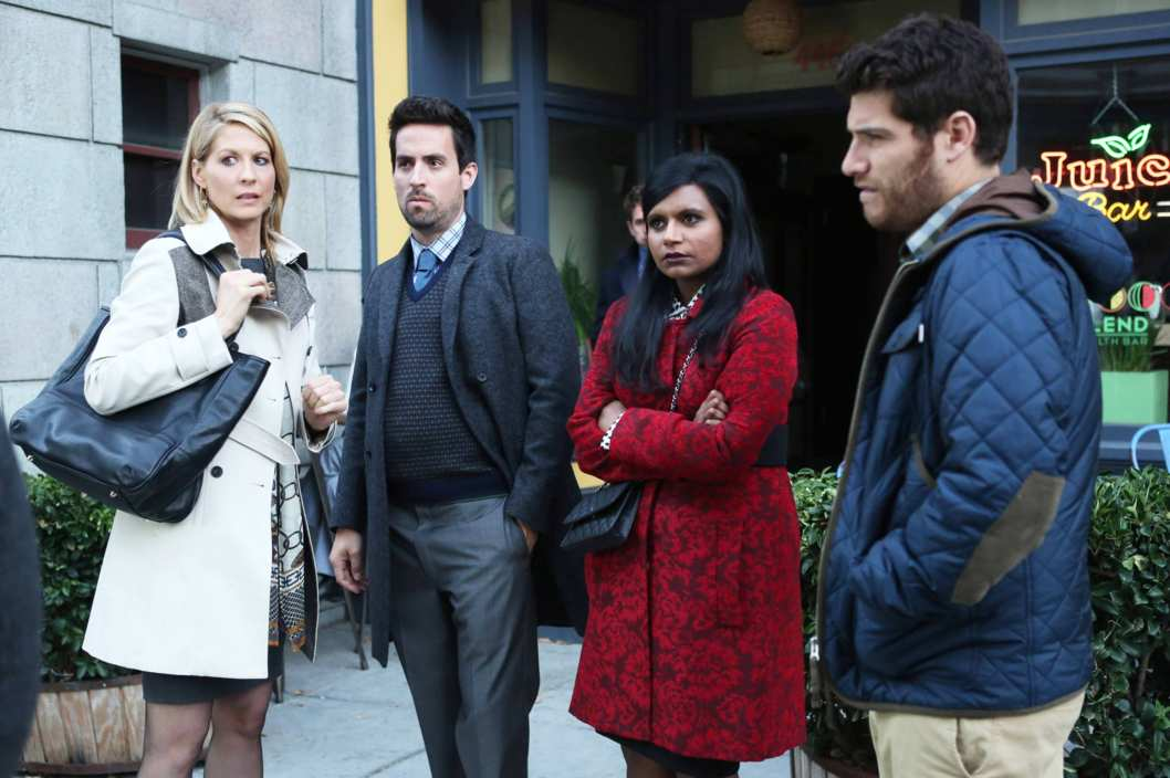 Priscilla (guest star Jenna Elfman, L) confronts Mindy (Mindy Kaling, second from R)