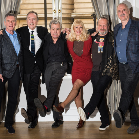 LONDON, ENGLAND - NOVEMBER 21:  (L-R) Michael Palin, Eric Idle, Terry Jones, Carol Cleveland, Terry Gilliam and John Cleese attend the Monty Python Reunion announcement press conference at the Corinthia Hotel on November 21, 2013 in London, England.  (Photo by Ian Gavan/Getty Images)