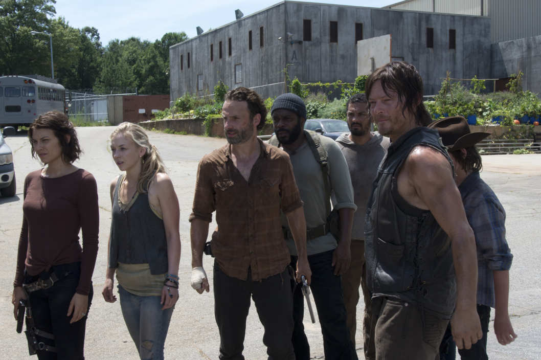 Maggie Greene (Lauren Cohan), Beth Greene (Emily Kinney), Rick Grimes (Andrew Lincoln), Tyreese (Chad Coleman), Daryl Dixon (Norman Reedus) and Carl Grimes (Chandler Riggs) - The Walking Dead _ Season 4, Episode 8 - Photo Credit: Gene Page/AMC