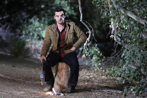 "NEW GIRL:  Nick (Jake Johnson) tries out his survival skills when the gang goes on a camping trip for Thanksgiving in the ""Thanksgiving III"" episode of NEW GIRL airing Tuesday, Nov. 26 (9:00-9:30 PM ET/PT) on FOX.  ©2013 Fox Broadcasting Co.  Cr:  Adam Taylor/FOX"