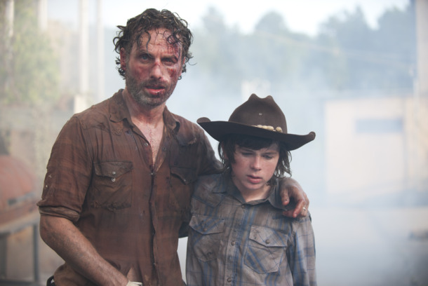 Rick Grimes (Andrew Lincoln) and Carl Grimes (Chandler Riggs) - The Walking Dead _ Season 4, Episode 8 - Photo Credit: Gene Page/AMC