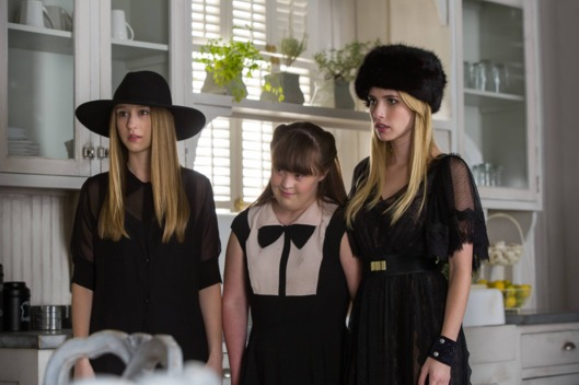 AMERICAN HORROR STORY: COVEN Head - Episode 309 (Airs Wednesday, December 11, 10:00 PM e/p) --Pictured: (L-R) Taissa Farmiga as Zoe, Jamie Brewer as Nan, Emma Roberts as Madison -- CR. Michele K. Short/FX