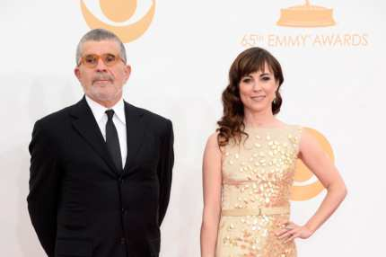LOS ANGELES, CA - SEPTEMBER 22:  Actor David Mamet and Rebecca Pidgeon arrive at the 65th Annual Primetime Emmy Awards held at Nokia Theatre L.A. Live on September 22, 2013 in Los Angeles, California.  (Photo by Frazer Harrison/Getty Images)