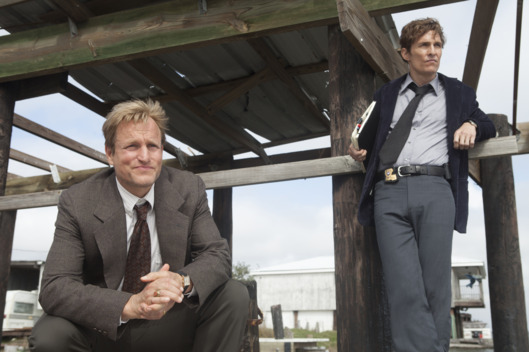 "SCENE 3.41 / Exterior Flatboat (1995) - Cohle and Marty question Henry Oliver about his daughters death. / Photo: Jim Bridges/HBOHBO's ""True Detective"" Season 1 Director: Cary FukunagaMatthew McConaughey: Rustin CohleWoody Harrelson:  Martin HartRitchie Montgomery: Henry Oliver"