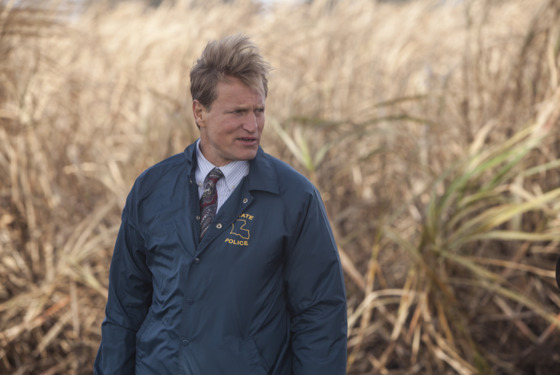 "SCENE 1.4 / Exterior Sugarcane Field - Crime Scene (1995) - Marty and Cohle arrive at the body. / Photo: Jim Bridges/HBO  HBO's ""True Detective"" Season 1  Direc"