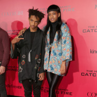 "LOS ANGELES, CA - NOVEMBER 18:  Actors Jaden Smith and Willow Smith attend premiere of Lionsgate's ""The Hunger Games: Catching Fire"" - Red Carpet at Nokia Theatre L.A. Live on November 18, 2013 in Los Angeles, California.  (Photo by Christopher Polk/Getty Images)"