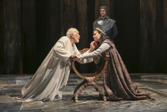 From left: Frank Langella & Isabella Laughland in KING LEAR By William ShakespeareChichester Festival TheatreDirected by Angus Jackson; Part of 2014 Winter/Spring Season; Dress rehearsal; Tuesday, January 7, 2014; 1:30 PM at the BAM Harvey Theater; Brooklyn Academy of Music, NYC; Photograph: © 2014 Richard Termine PHOTO CREDIT - Richard Termine