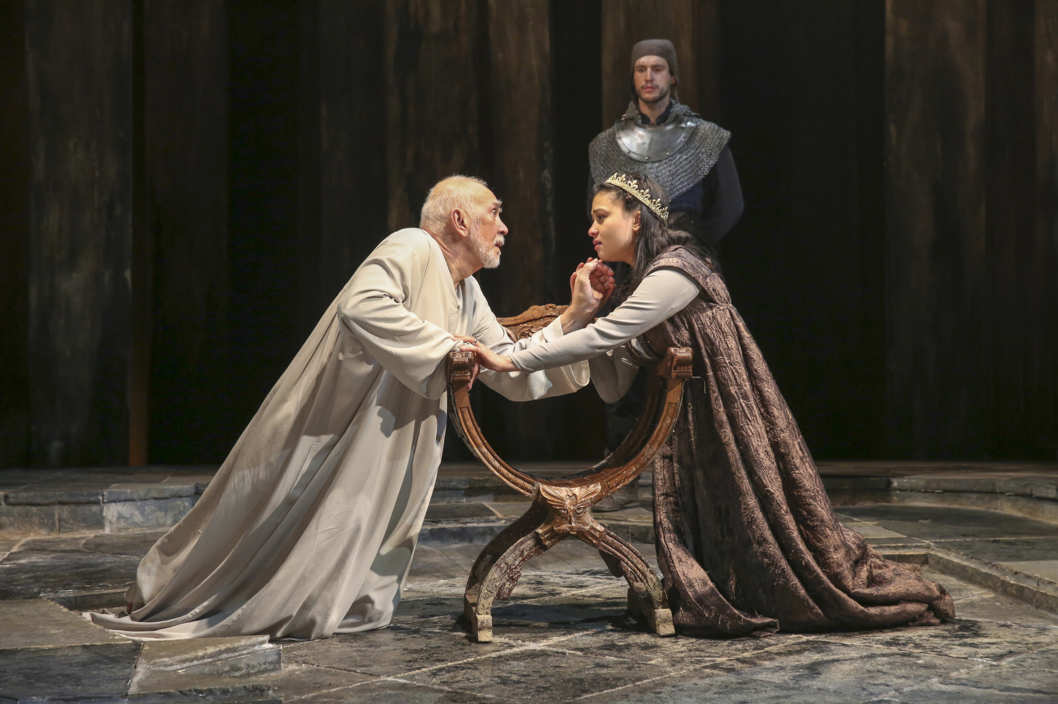 From left: Frank Langella & Isabella Laughland in KING LEAR By William ShakespeareChichester Festival TheatreDirected by Angus Jackson; Part of 2014 Winter/Spring Season; Dress rehearsal; Tuesday, January 7, 2014; 1:30 PM at the BAM Harvey Theater; Brooklyn Academy of Music, NYC; Photograph: ? 2014 Richard Termine PHOTO CREDIT - Richard Termine
