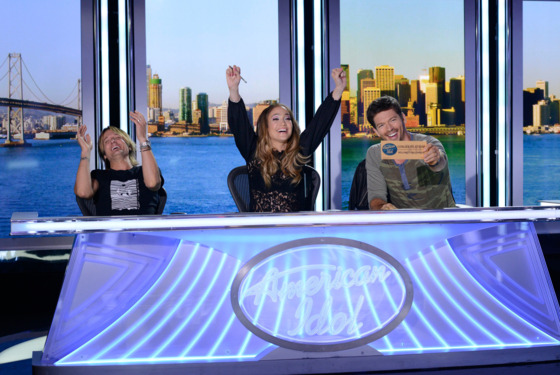 AMERICAN IDOL XIII: San Francisco Auditions: L-R: Judges Keith Urban, Jennifer Lopez and Harry Connick, Jr. on AMERICAN IDOL XIII airing Thursday, Jan. 16 (8:00-10:00 PM ET/PT) on FOX. CR: Michael Becker / FOX