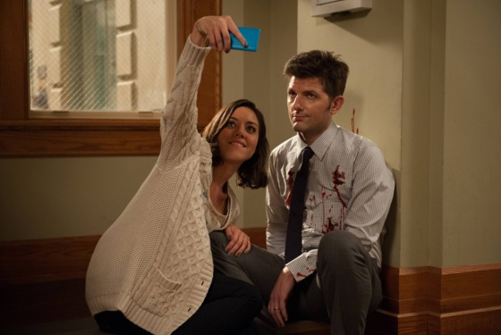 "PARKS AND RECREATION -- ""New Beginnings"" Episode 611 -- Pictured: (l-r) Aubrey Plaza as April Ludgate, Adam Scott as Ben Wyatt."