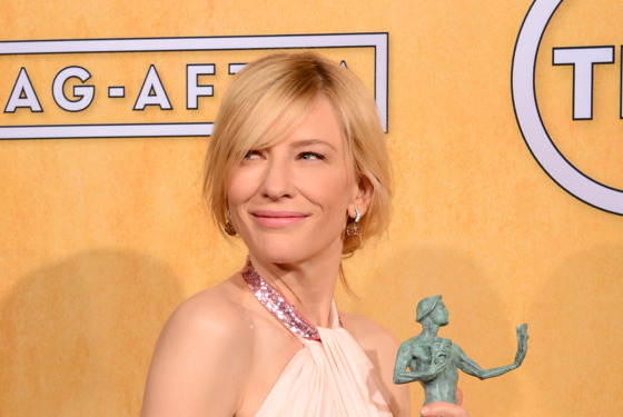 LOS ANGELES, CA - JANUARY 18:  Actress Cate Blanchett, winner of the Outstanding Performance by a Female Actor in a Leading Role award for 'Blue Jasmine,' poses in the press room during the 20th Annual Screen Actors Guild Awards at The Shrine Auditorium on January 18, 2014 in Los Angeles, California.  (Photo by Ethan Miller/Getty Images)