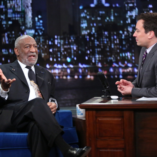 LATE NIGHT WITH JIMMY FALLON -- Episode 931 -- Pictured: (l-r) Bill Cosby with host Jimmy Fallon during an interview on Monday, November 18, 2013 -- (Photo by: Lloyd Bishop/NBC/NBCU Photo Bank)